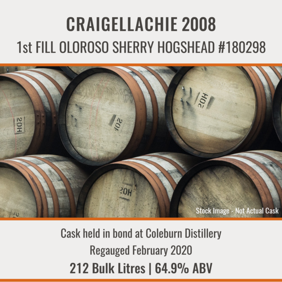 Craigellachie - 2008 1st Fill Oloroso Sherry Hogshead #180298 | Held In Bond