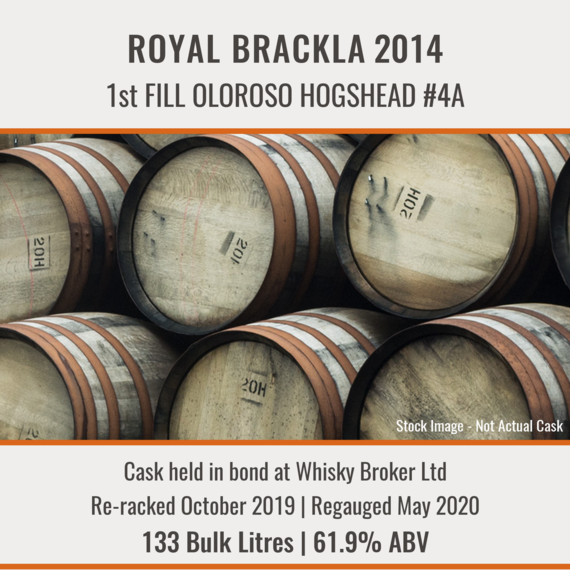 Royal Brackla - 2014 1st Fill Oloroso Hogshead #4A | Held In Bond